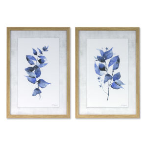 Brown and Grey Framed Leaf Print Wall Decor, Set of 2