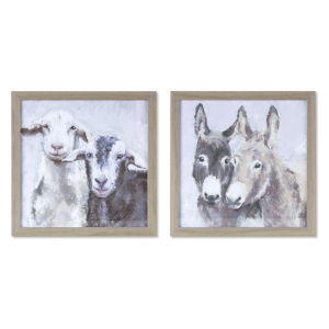Brown and White Donkey and Sheep Frame, Set of 4