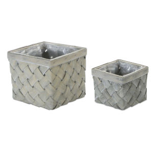Grey and Brown Square Pot, Set of 8