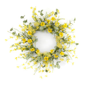 Yellow and Green 20-Inch Mini Floral Wreath