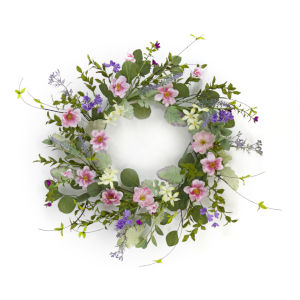 Green and Pink Mixed Floral Wreath