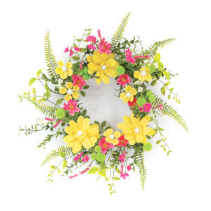 Yellow and Pink Daisy and Pom Pom Wreath