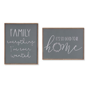Green and White Family and Home Frame, Set of 4