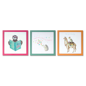 Multicolor Happy Print Wall Decor, Set of 6