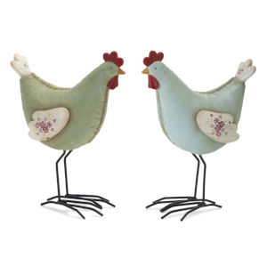 Green and Blue Chicken Figurine, Set of 4