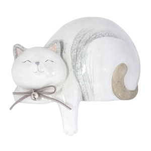 Cream and Grey 7-Inch Cat Figurine, Set of 4
