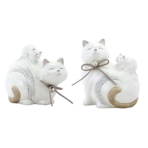 White and Grey Cat Figurine, Set of 8