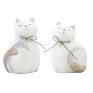 Cream and Grey Cat Figurine, Set of 4