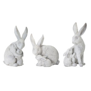 Grey and White Rabbit with Bunny Figurine, Set of 6