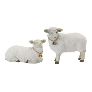 White and Brown Lamb Figurine, Set of 2