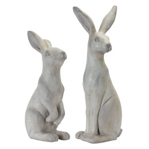 White and Grey Rabbit Figurine, Set of 2