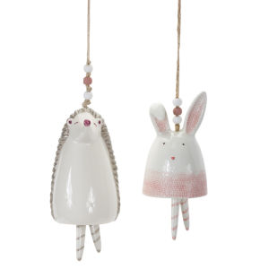 Muticolor Bunny and Hedgehog Bell, Set of 4