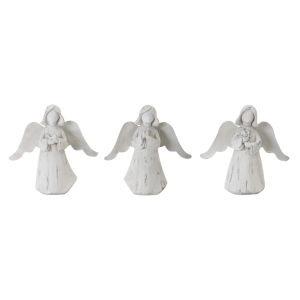 White and Brown Angel Figurine, Set of 6