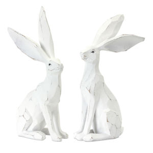 White and Brown 12-Inch Rabbit Figurine, Set of 2