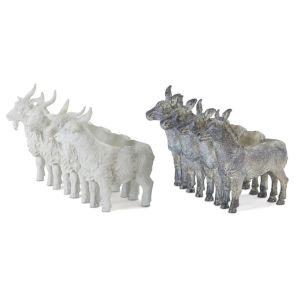 Grey and White Donkey and Goat Figurine, Set of 2