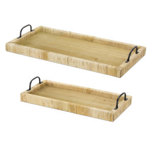 White and Brown Tray, Set of 2