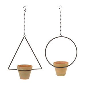 Clay and Green Hanging Pot, Set of 4
