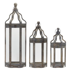 Gray and Brown 12-Inch Lantern, Set of 3