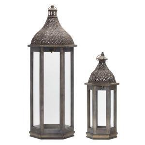 Brown Iron and Wood Lantern, Set of 2