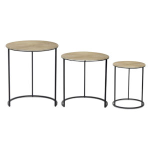 Brown and Black 23-Inch Nesting Table, Set of 3