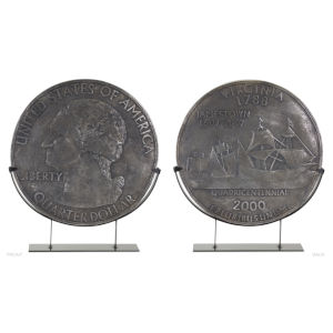 Silver and Grey Coin in Stand