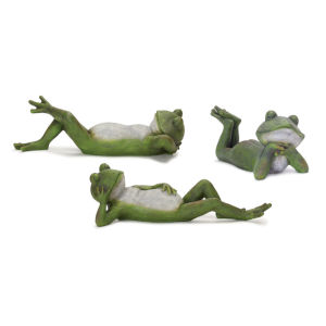 Green and Grey Frog Figurine, Set of 3