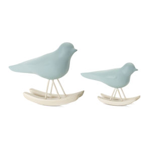 Blue and Brown Bird Rocker Figurine, Set of 4
