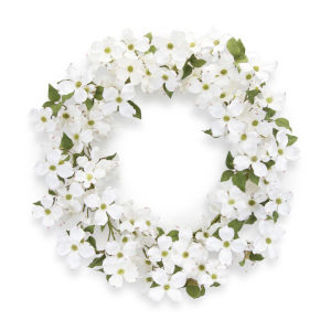 White and Green Dogwood Wreath
