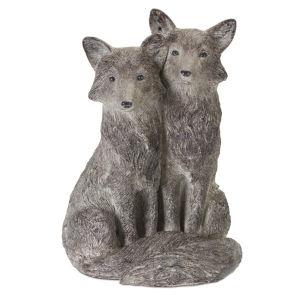 Brown and White Fox Pair Figurine