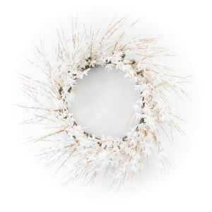White and Brown 25-Inch Blossom Wreath
