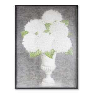 White and Green Hydrangea In Urn Plaque