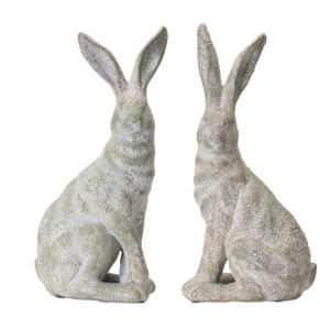 White and Brown 17-Inch Rabbit Figurine, Set of 2
