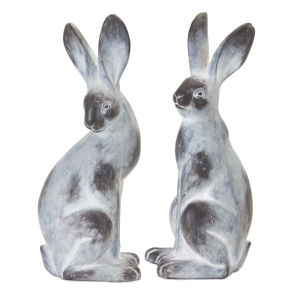 Grey and White 17-Inch Rabbit Figurine, Set of 2