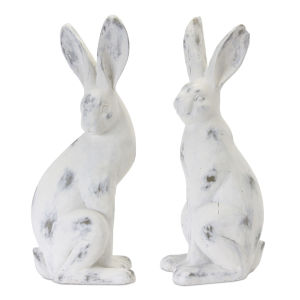 White and Brown Rabbit Figurine, Set of 2