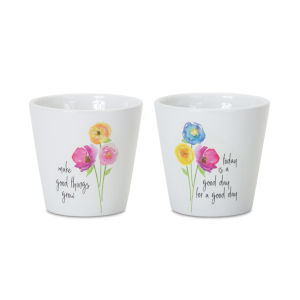 White and Black Floral Pot, Set of 6
