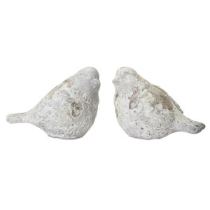 Grey and Brown Bird Figurine, Set of 2