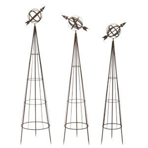Brown and Black Metal Obelisks, Set of 3