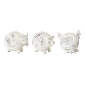 White Farm Animal Figurine, Set of 3