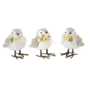 White and Brown Bird Figurine, Set of 18