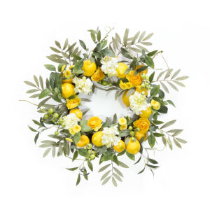 Yellow and Green Lemon and Floral Wreath