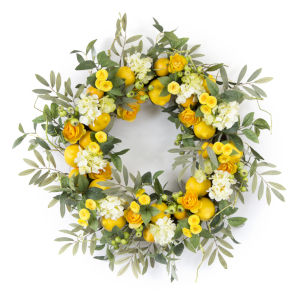 Yellow and Green 28-Inch Lemon and Floral Wreath