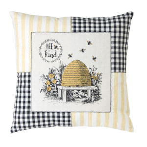 Yellow and Black 18-Inch Bee Pillow, Set of 2
