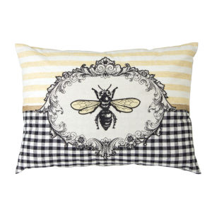 Yellow and Black Bee Pillow, Set of 2