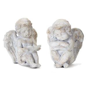 Stone 6-Inch Cherub Figurine, Set of 4