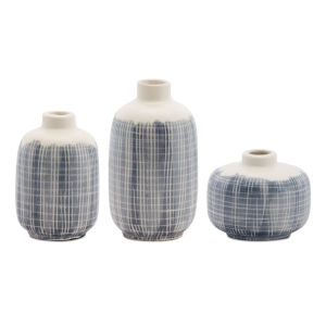 Blue and White Mini Vase, Set of 6