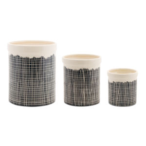 Black and White Terra Cotta Crock, Set of 3