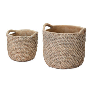 Brown 8-Inch Cement Pot, Set of 4