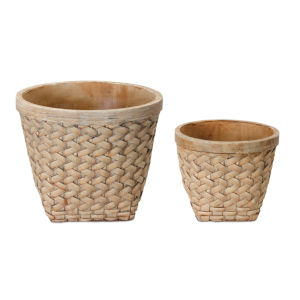 Brown 9-Inch Cement Pot, Set of 4