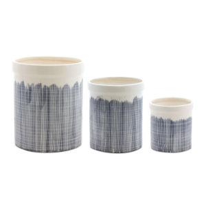 Blue and White Terra Cotta Crock, Set of 3