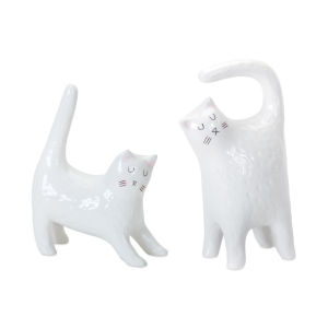 White and Black Cat Figurine, Set of 4